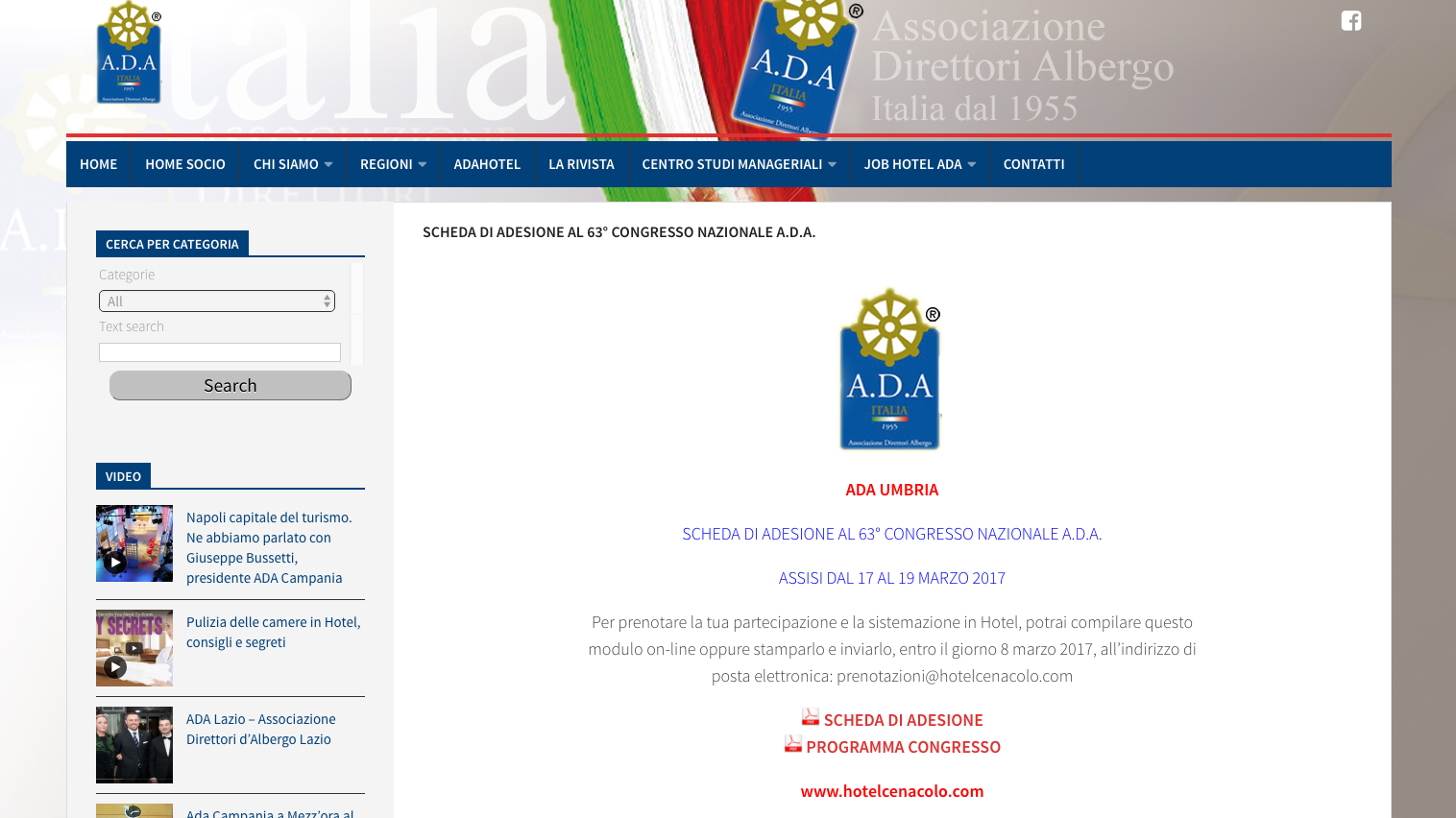 SCHEDA DI ADESIONE AL 63° CONGRESSO NAZIONALE A.D.A.