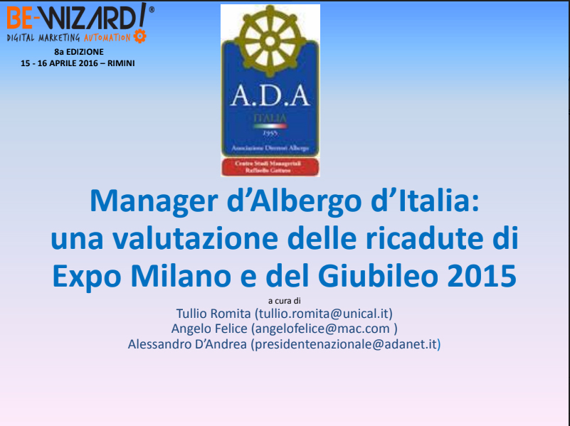 Manager d'Albergo d'Italia: una valutazione delle ricadute di Expo Milano e del Giubileo 2015